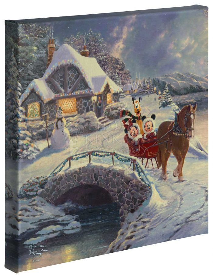Mickey and Minnie Evening Sleigh Ride  – 14″ x 14″ Gallery Wrapped Canvas