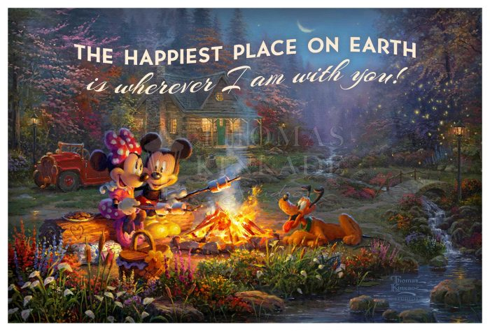 Disney – Mickey and Minnie – Sweetheart Campfire – 12″ x 18″ Wood Sign