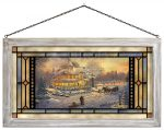 Victorian Christmas Sunset – 11.5″ x 21.25″ Stained Glass Art (White Frame)