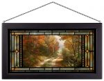 A Walk Down Autumn Lane – 13″ x 23″ Stained Glass Art