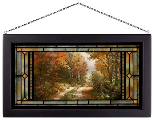 """A Walk Down Autumn Lane - 11.5"""" x 21.25"""" Stained Glass Art"""
