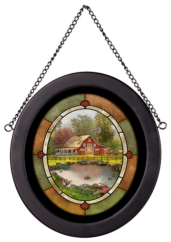 Red Barn Retreat – 9″ x 8″ Stained Glass Art