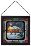 Christmas Chapel – 8″ x 8″ Stained Glass Art (Satin Black Frame)