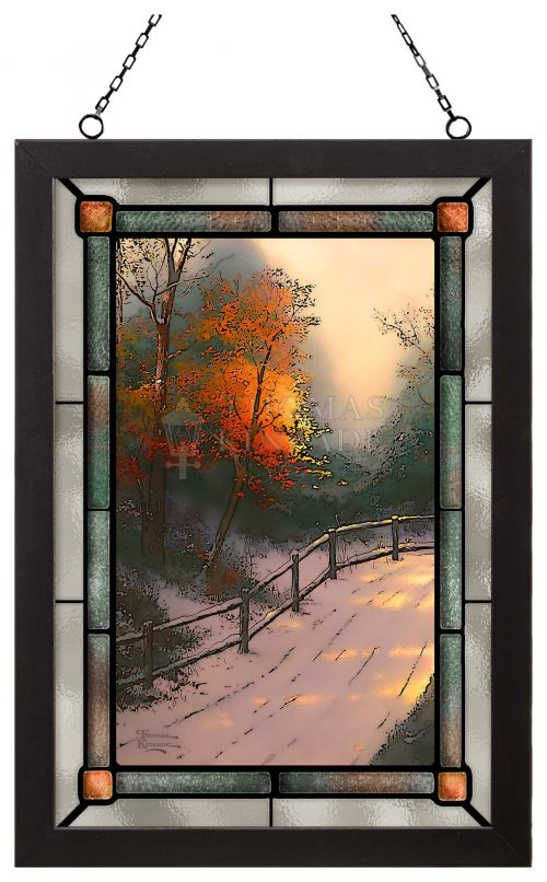 """First Snow - 12"""" x 18"""" Stained Glass Art (Satin Black Frame)"""