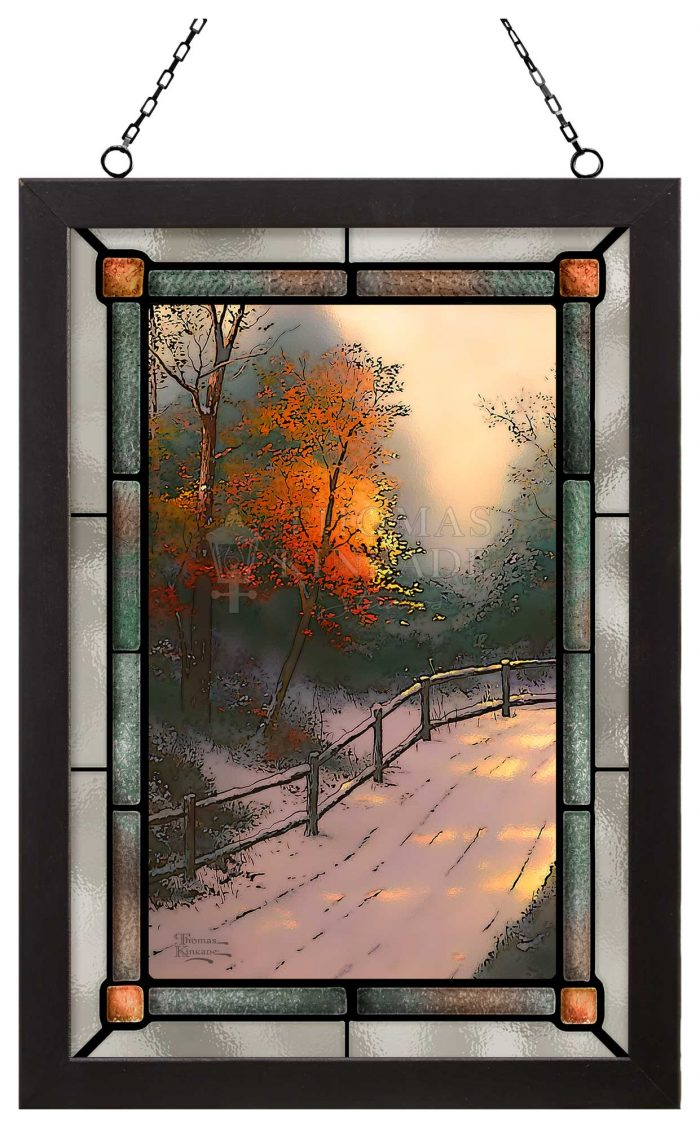 First Snow – 12″ x 18″ Stained Glass Art (Satin Black Frame)