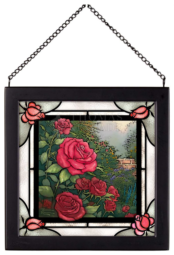 The Perfect Red Rose – 8″ x 8″ Stained Glass Art (Satin Black Frame)
