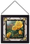 The Perfect Yellow Rose – 8″ x 8″ Stained Glass Art (Satin Black Frame)