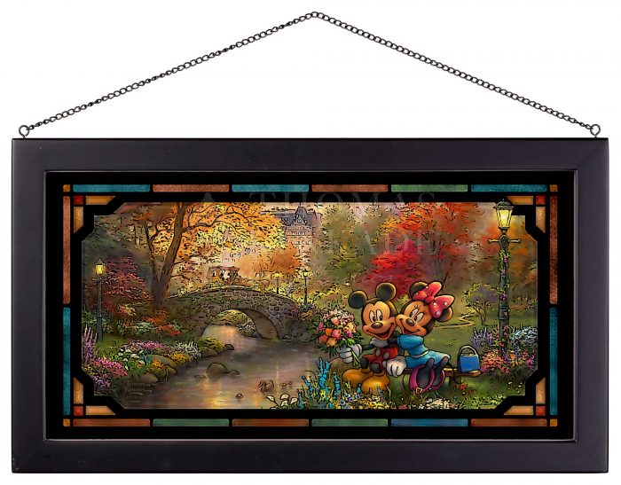 Disney Mickey and Minnie Sweetheart Central Park – 12″ x 23″ Framed Glass Art