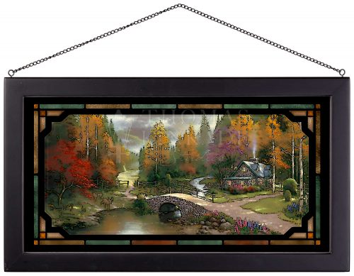 """The Valley of Peace - 11.5"""" x 21.25"""" Stained Glass Art"""
