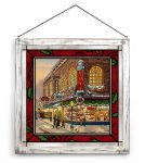A Christmas Wish – 18.5″ x 18.5″ Stained Glass Art (White Frame)