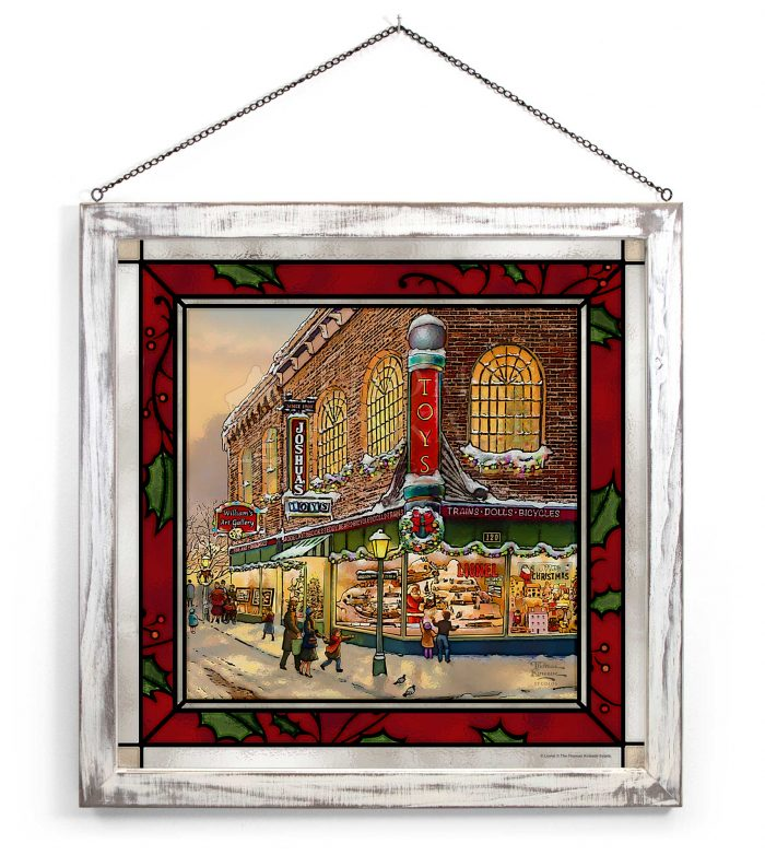A Christmas Wish – 20″ x 20″ Stained Glass Art (White Frame)