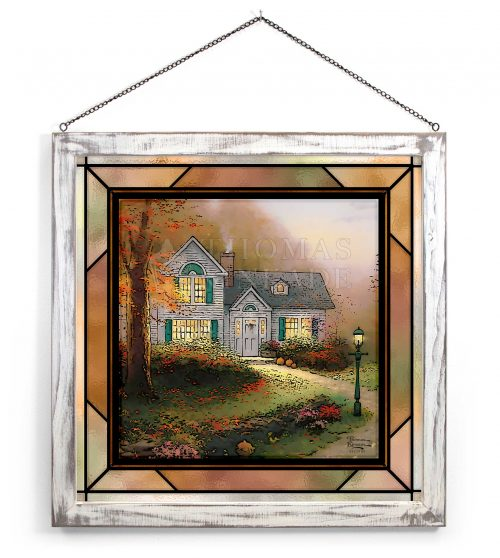 """The Blessings of Autumn - 18.5"""" x 18.5"""" Stained Glass Art (White Frame)"""
