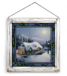 Silent Night – 20″ x 20″ Stained Glass Art (White Frame)