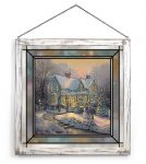 Blessings of Christmas – 20″ x 20″ Stained Glass Art (White Frame)