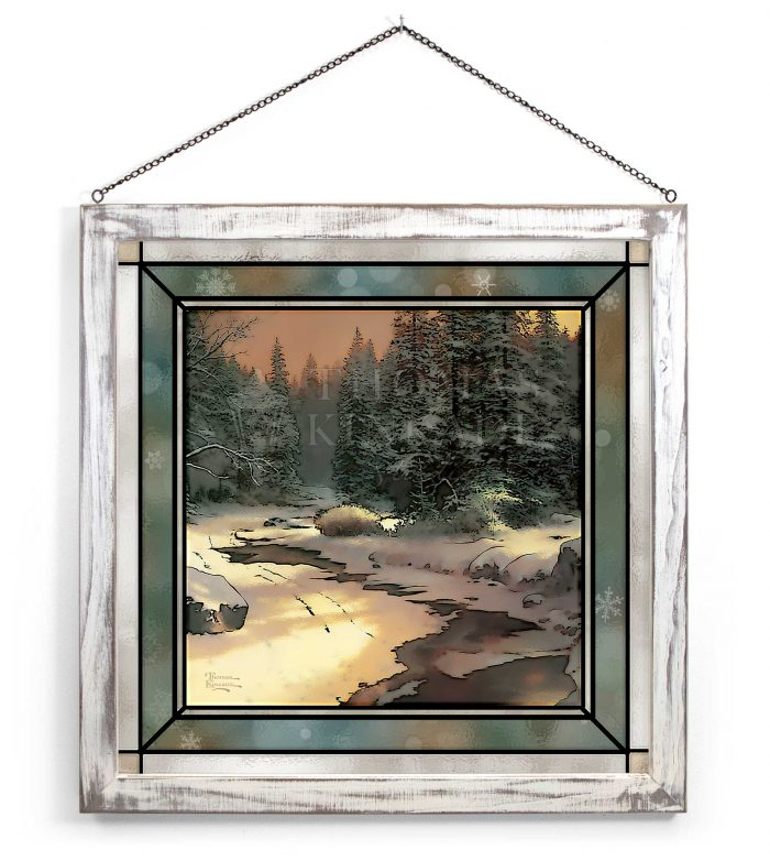 Winter's End – 20″ x 20″ Stained Glass Art (White Frame)
