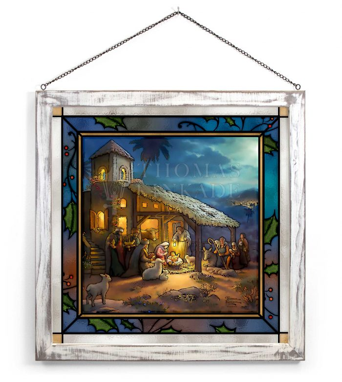 The Nativity – 20″ x 20″ Stained Glass Art (White Frame)
