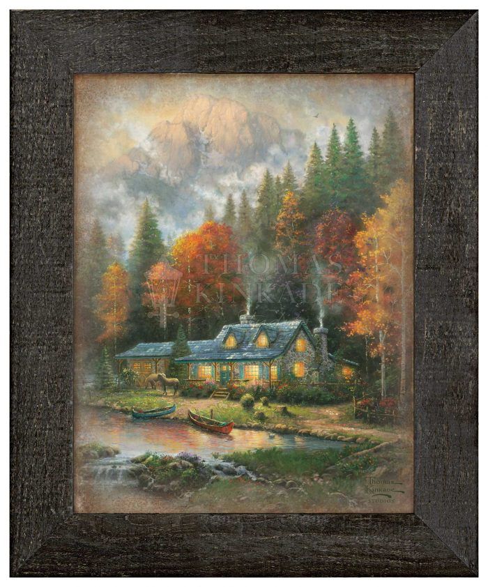 Evening at Autumn Lake – 12.5″ x 16″ Framed Metal Print (Right View)