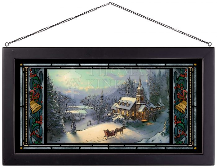 Sunday Evening Sleigh Ride – 13″ x 23″ Stained Glass Art