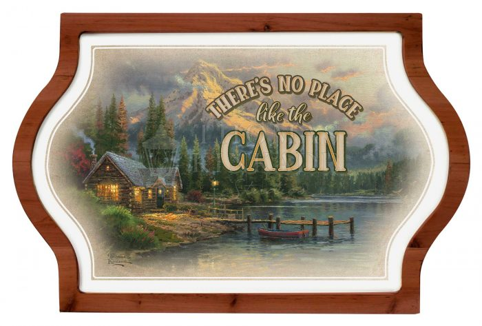 There's No Place Like the Cabin – 12″ x 18″ Framed Vintage Tin Sign