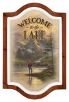Welcome to the Lake – 18″ x 12″ Framed Vintage Tin Sign