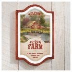 Welcome to Our Farm – 18″ x 12″ Framed Vintage Tin Sign