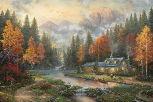"""*RARE* Evening at Autumn Lake - Limited Edition Canvas, 28"""" x 42"""", AP, #5"""