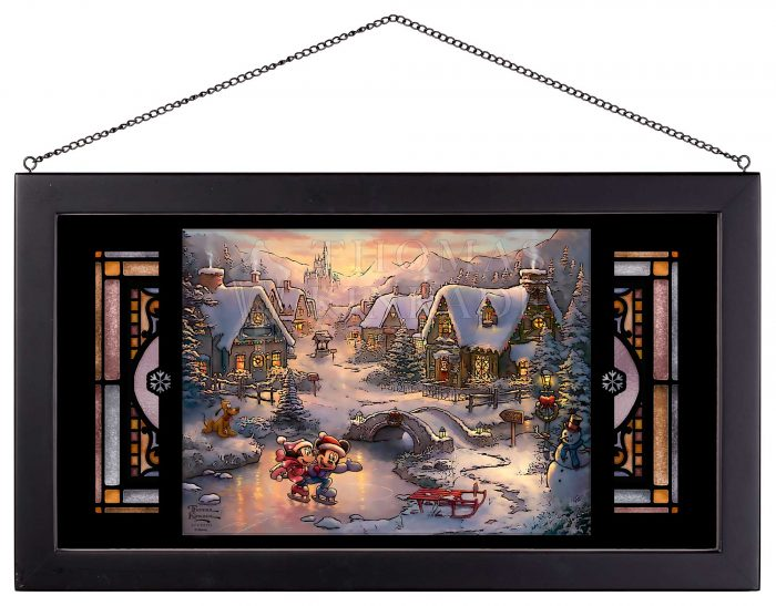 Mickey and Minnie Sweetheart Holiday – 11.5″ x 21.25″ Framed Glass Art