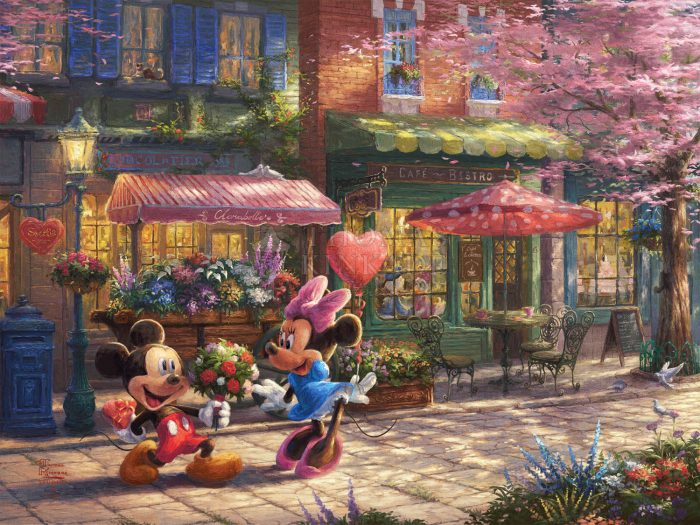*RARE* Mickey and Minnie – Sweetheart Cafe – Limited Edition Canvas, 18″ x 24″, AP, #10