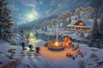 Disney – Mickey and Minnie Christmas Lodge – Limited Edition Canvas
